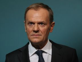 EU Council President Donald Tusk speaks at a press conference after meeting Irish PM Leo Varadkar