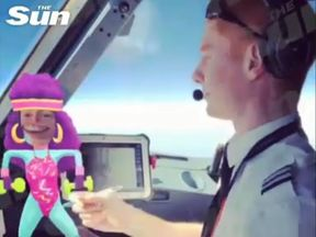Captain Michel Castellucci captured his co-pilot dancing as a cartoon avatar moved around on screen