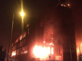 The mill on fire. Pic: @manchesterfire