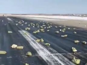 Gold fell onto the runway of a Russian airport