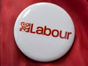 Badge with the Labour party logo
