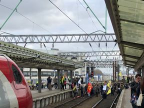 The protesters on the tracks. Pic: Chris Woodhouse