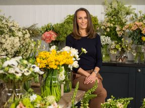 Florist Philippa Craddock, who has been chosen to create the floral displays for the wedding of Prince Harry and Meghan Markle, in her studio