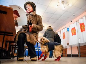 A woman with her dog at a polling station