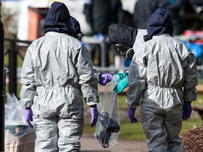 Forensic teams taking samples from the scene of the incident
