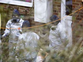 Investigators work in the garden of Sergei Skripal's house in Salisbury