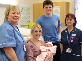 Bouncing baby Sienna was born on the side of the road, amid freezing weather conditions