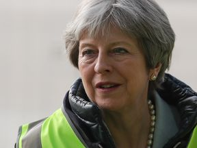 Prime Minister Theresa May during a visit to Barratt Upton Gardens in east London