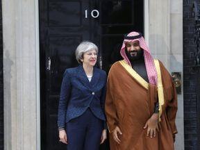 Theresa May greets the Crown Prince of Saudi Arabia Mohammad bin Salman outside 10 Downing Stree