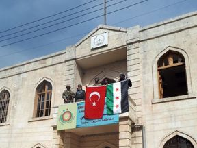 Turkish flag in Afrin. Twitter pic: @TSKGnkur