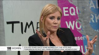 Michelle Collins taking part in the 100 Women debate