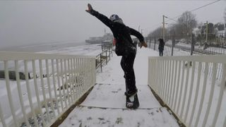 Billy Morgan shows his snow tricks in Essex