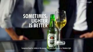The 'lighter is better' advert has sparked outrage online. Pic: Heineken