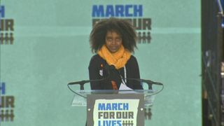 Naomi Wadler delivers a speech in Washington DC