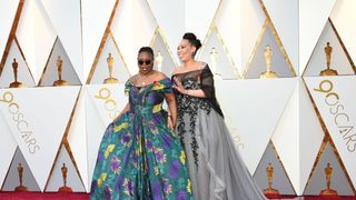 US actress Whoopi Goldberg and Alex Martin arrive for the 90th Annual Academy Awards on March 4, 2018, in Hollywood, California. / AFP PHOTO / VALERIE MACON (Photo credit should read VALERIE MACON/AFP/Getty Images)