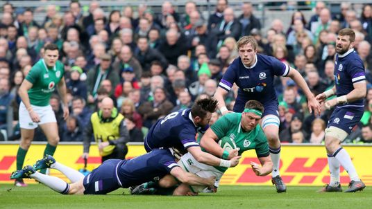 CJ Stander is tackled by Hamish Watson