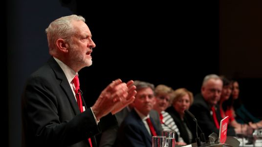 Labour leader Jeremy Corbyn speaking during the Scottish Labour conference in Caird Hall, Dundee