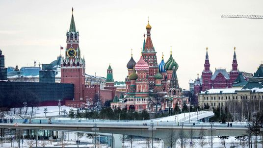 A view of the Kremlin, St. Basil's Cathedral and the Zaryadye Park in downtown Moscow