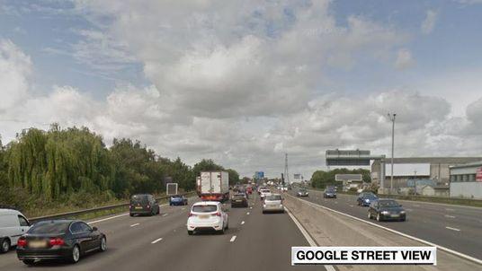 M25 at Waltham Abbey, Essex. Pic: Google Street View