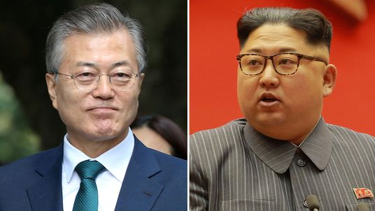 Moon Jae-in and Kim Jong Un