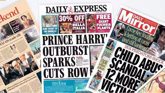 Saturday's newspaper front pages