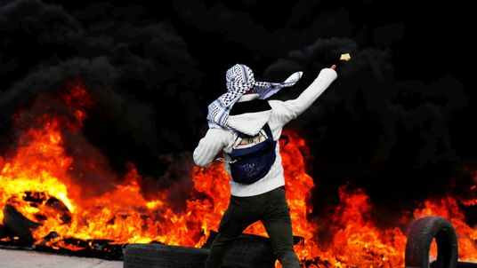 A Palestinian protester in Ramallah