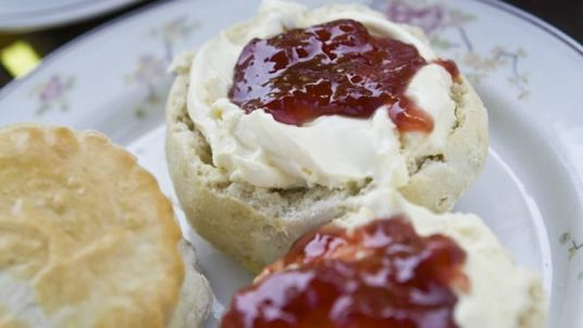 The snap of a scone with cream on first has caused outrage. Pic. National Trust
