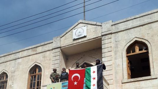 Turkish flag in Afrin. Twitter pic: @TSKGnkur
