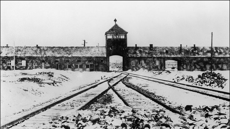 A picture taken of Auschwitz in January 1945 after it was liberated by Soviet troops
