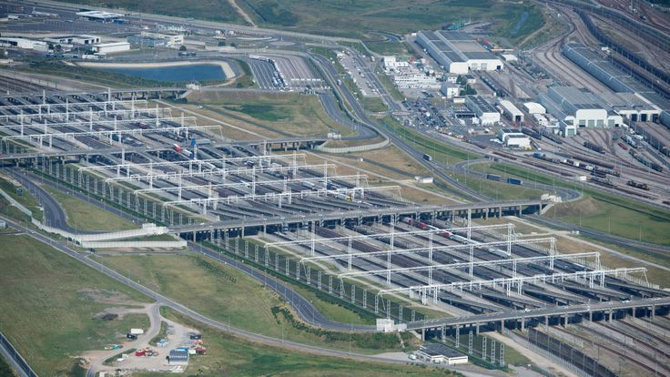 An aerial view of the Eurotunnel in France