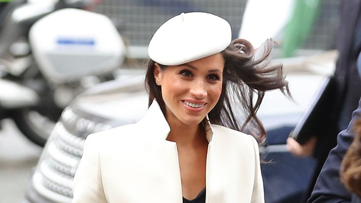Meghan in white at Westminster Abbey in March