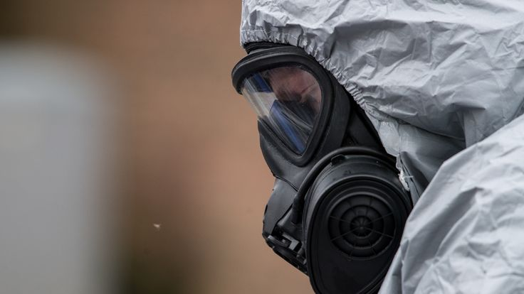 Military personnel wearing protective suits continue investigations into the poisoning of Sergei Skripal in Salisbury