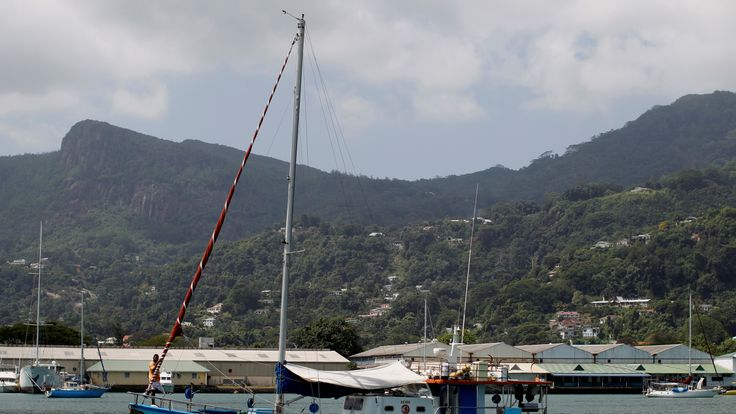 A fisherman's boat is seen at Seychelles port