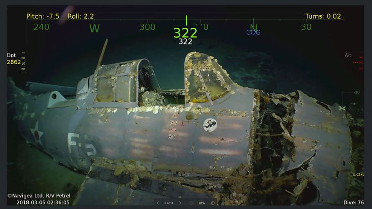 This handout photograph photo obtained March 5, 2018 courtesy of Paul G. Allen shows wreckage from the USS Lexington, a US aircraft carrier which sank during World War II, that has been found in the Coral Sea. Pic: Douglas Curran