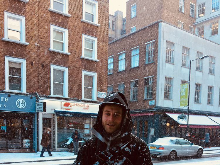 James Ramstein continued cycling despite the snow