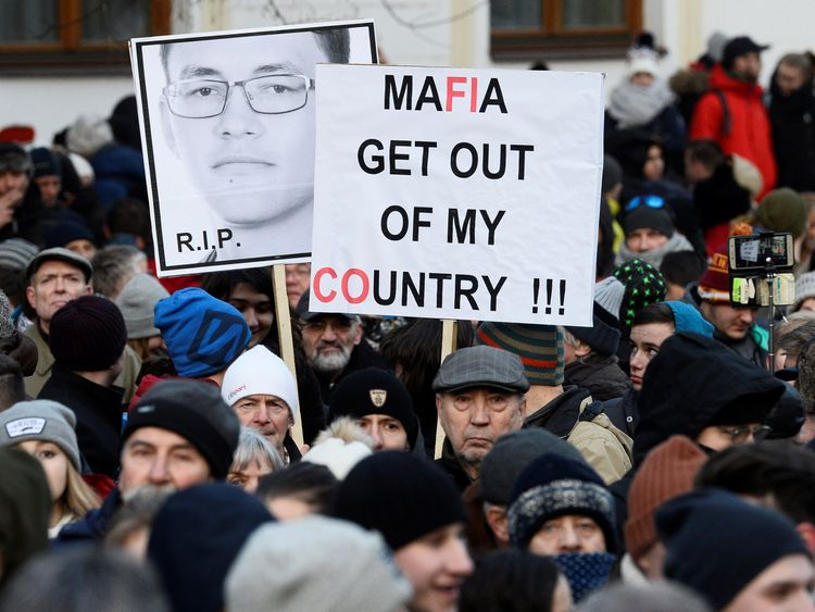 Thousands march in Slovakia for slain journalist