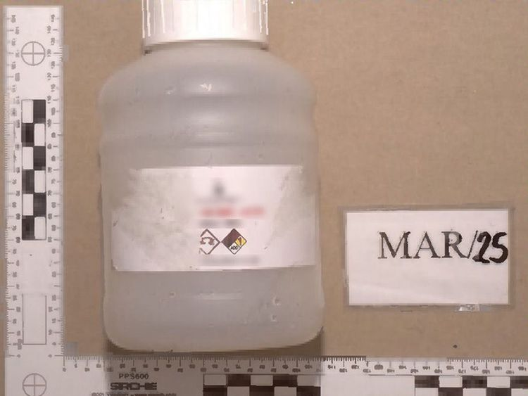 A bottle of acid which Ahmed Hassan allegedly bought on Amazon