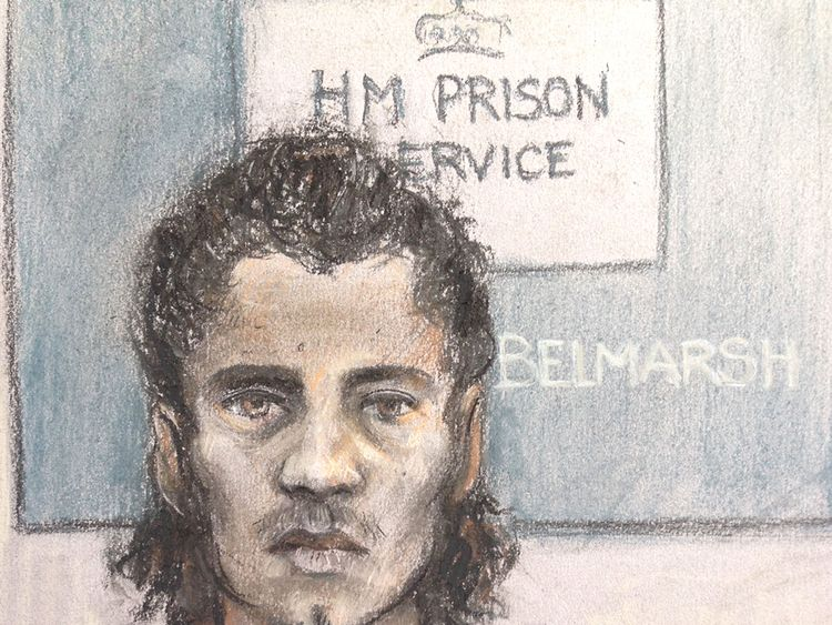 A court sketch of Ahmed Hassan from an earlier hearing. File pic