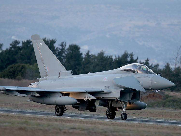 A RAF Typhoon arrives at RAF Akrotiri to begin operations on December 3, 2015 in Akrotiri, Cyprus