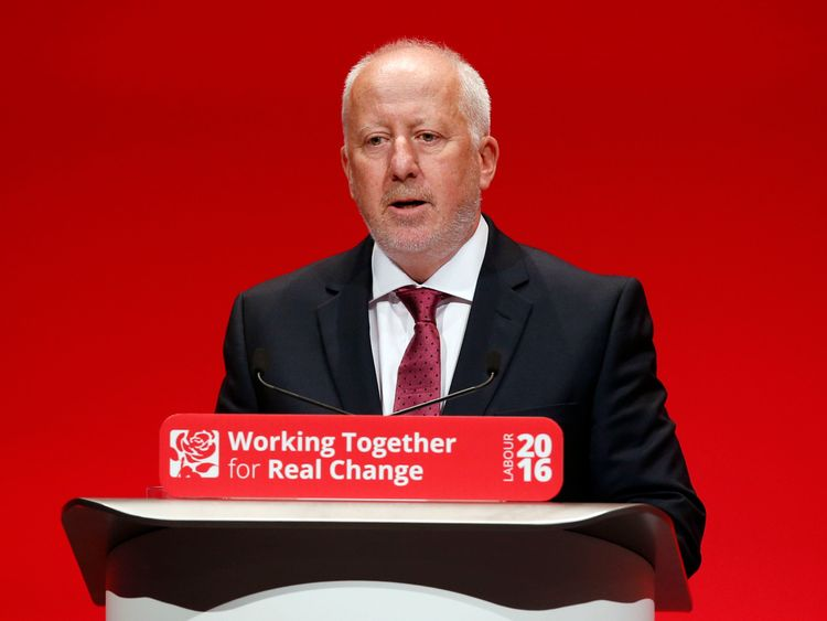 Shadow transport secretary Andy McDonald addresses the Labour conference