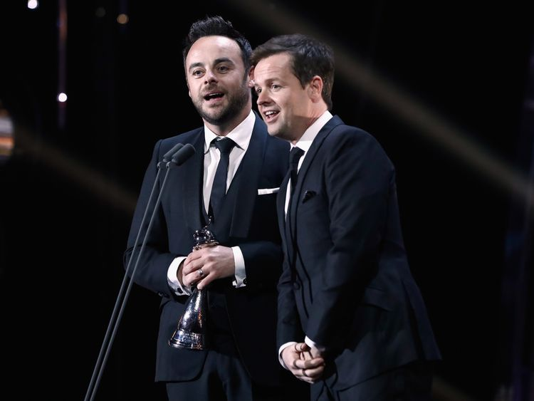 LONDON, ENGLAND - JANUARY 25: Ant and Dec accept the Best TV Presenter Award on stage during the National Television Awards at The O2 Arena on January 25, 2017 in London, England. (Photo by John Phillips/Getty Images) Editorial subscription SML 4590 x 3060 px | 38.86 x 25.91 cm @ 300 dpi | 14.0 MP  Size Guide Add notes DOWNLOAD AGAIN Details Restrictions:	Contact your local office for all commercial or promotional uses.. Credit:	John Phillips / Stringer Editorial #:	632704800 Collection:	Getty I