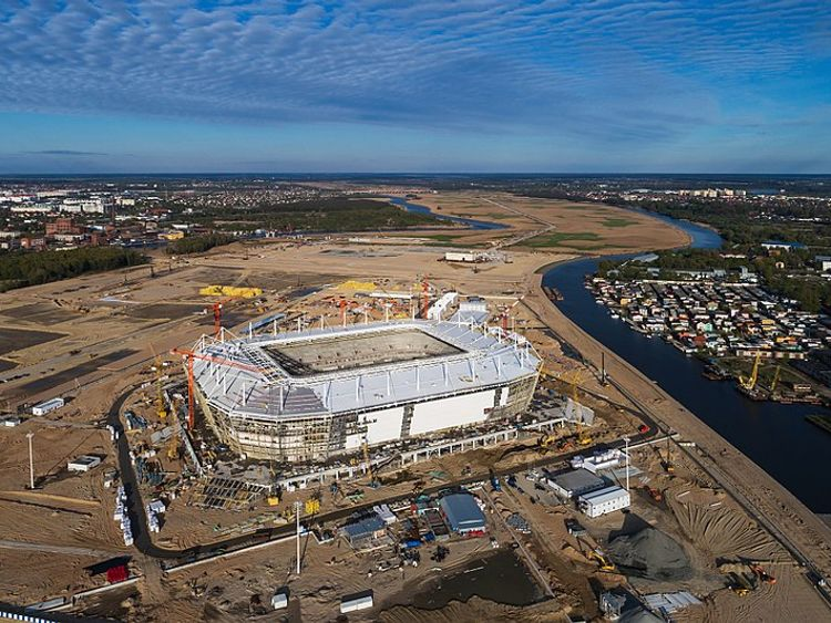 Kaliningrad's Baltic Arena under construction in May last year. Copyright A Savin, Wikimedia Commons