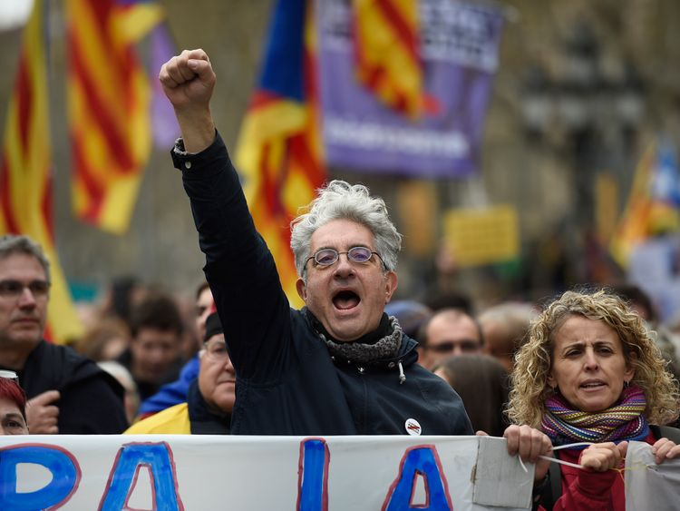 Demonstrations followed the arrest of Catalonia's former president by German police