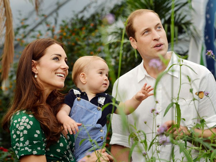 George with his parents in the Natural History Museum, ahead of his first birthday