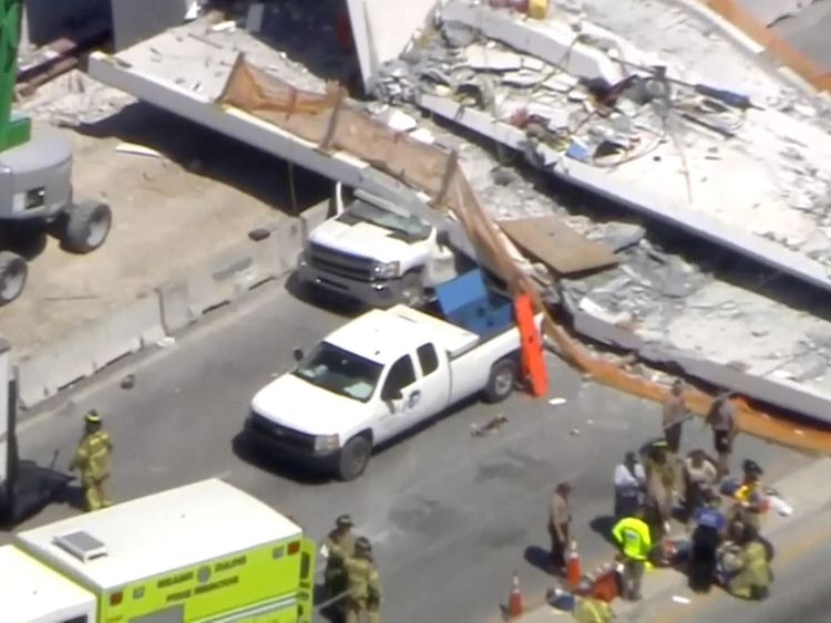 At least 4 killed from collapse of pedestrian bridge in Miami