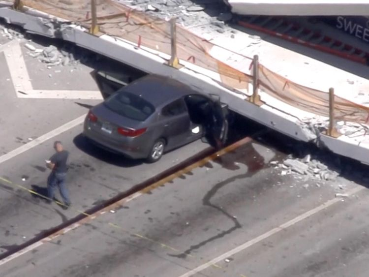 Cars, bodies remain trapped in Florida bridge collapse, 6 dead