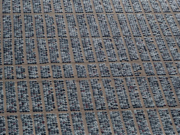At this distance, it is not immediately obvious that the pattern is made by discarded cars