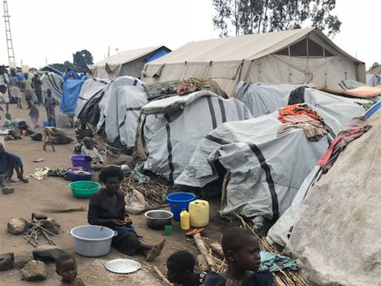 Nearly ten thousand people are living in a camp in Bunia after fleeing fighting