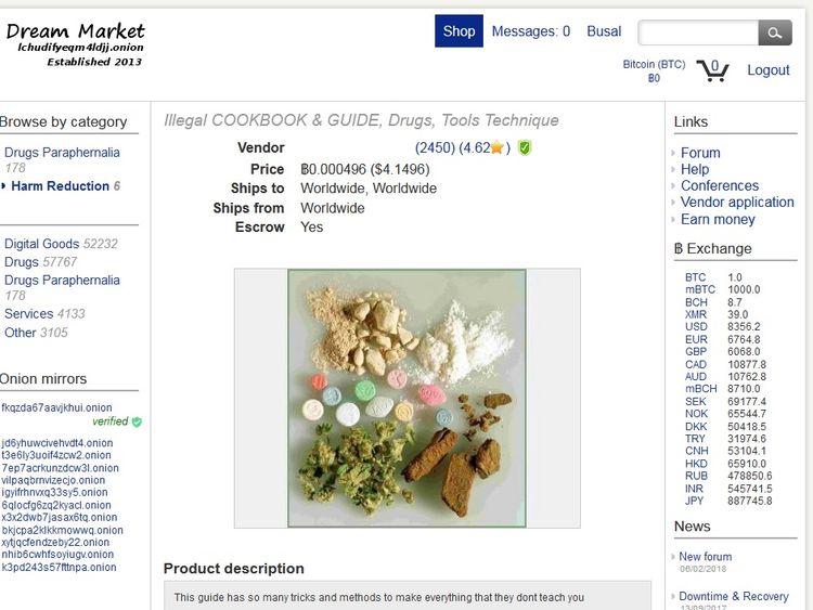 Drugs cookbook for sale on the dark web. Pic: Digital Shadows