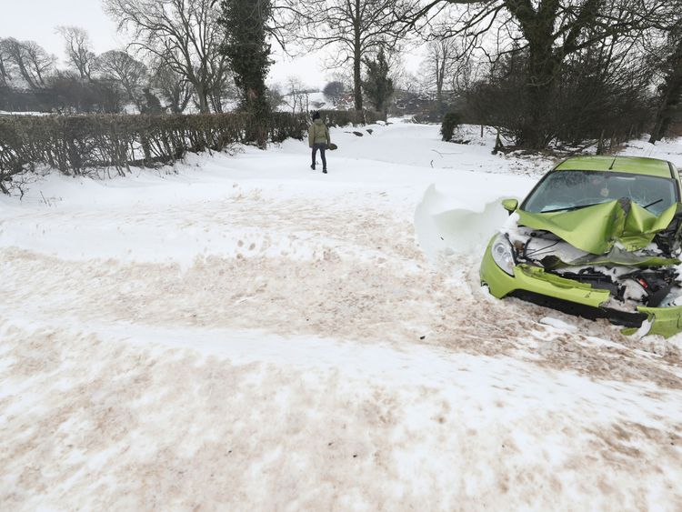 An abandoned car at Belah bridge in Cumbria as the cold weather across the country continues.